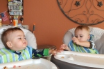 Eating breakfast in their high chairs like big boys